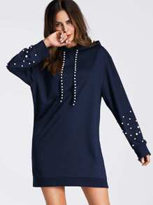 Pearl Beaded Detail Hoodie Dress