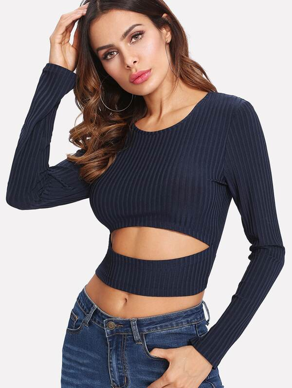 Cut Out Crop Ribbed Tshirt by Sheinside