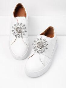 Rhinestone Flower Front PU Sneakers