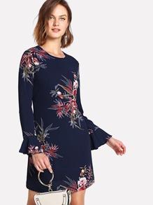 Botanical Print Flounce Sleeve Dress