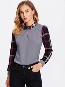 Tattersall Plaid Contrast Blouse