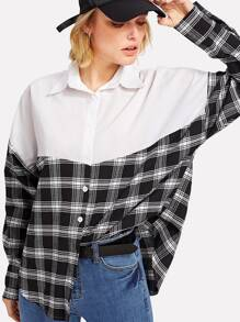 Color Block Checked Shirt