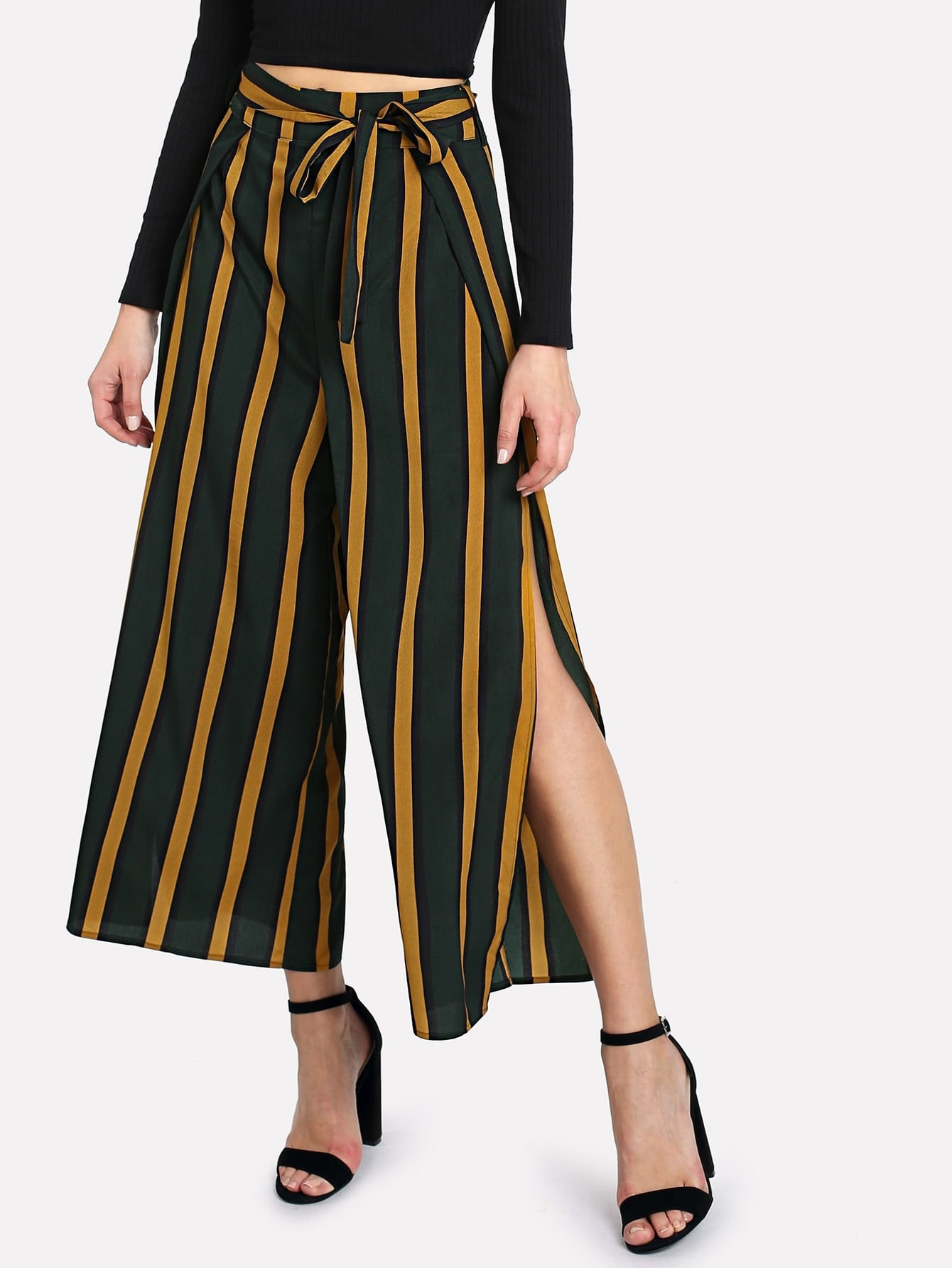 Self Belt Split Side Striped Wide Leg Pants bow tie side wide leg pants