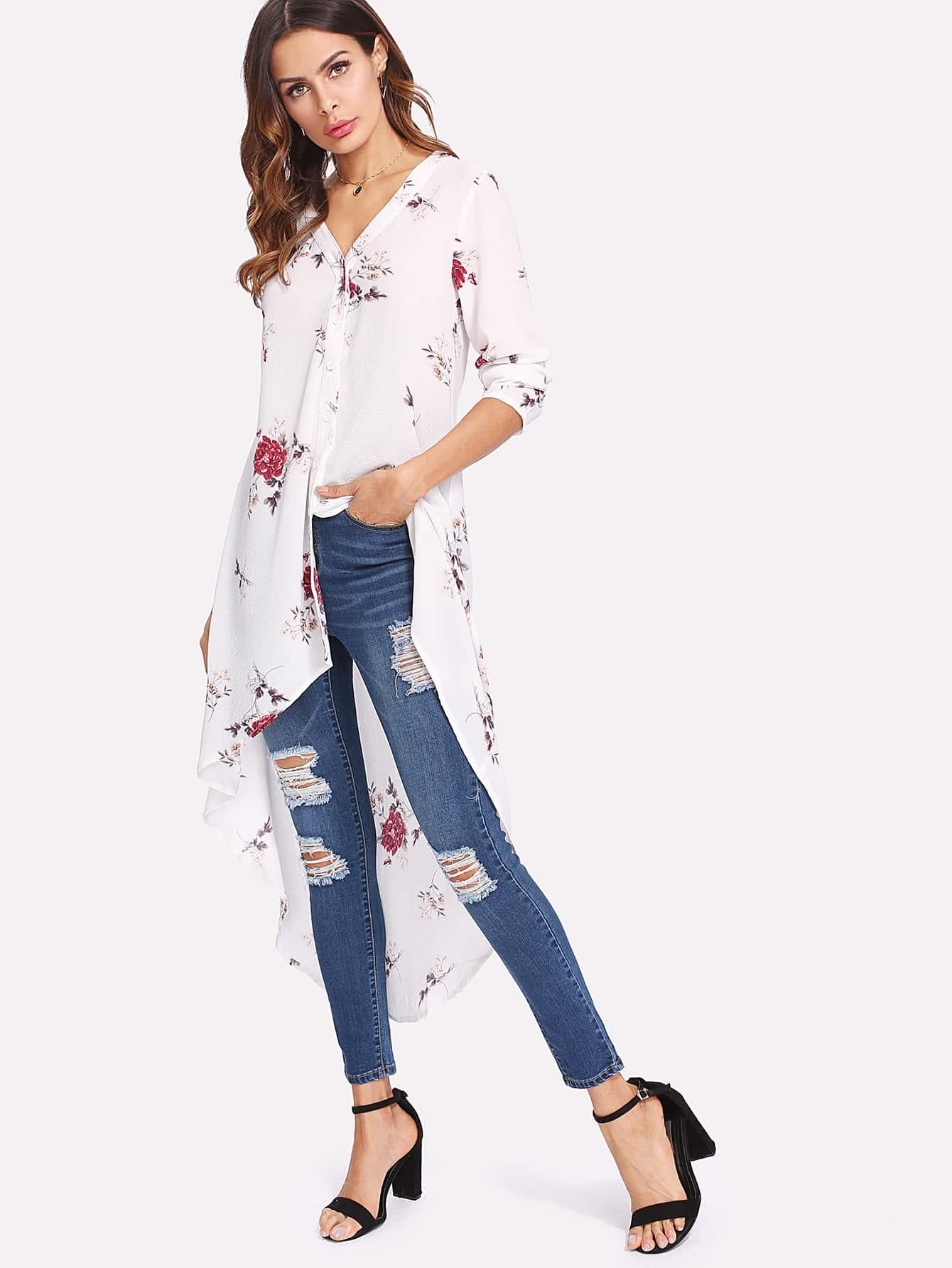 Botanical Print Dip Hem Shirt all over florals dip hem shirt