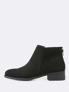 Perforated Zipper Faux Suede Ankle Boots BLACK