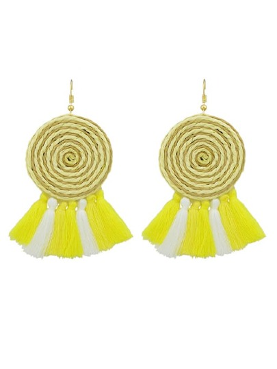 Yellow Candy Color Long Tassel Big Hanging Earrings