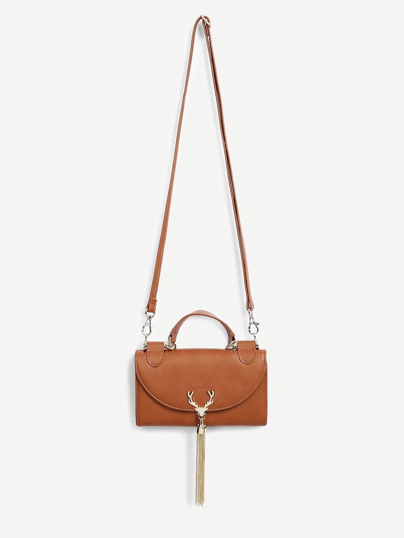 Antlers & Tassel Detail PU Shoulder Bag tassel detail pu shoulder bag
