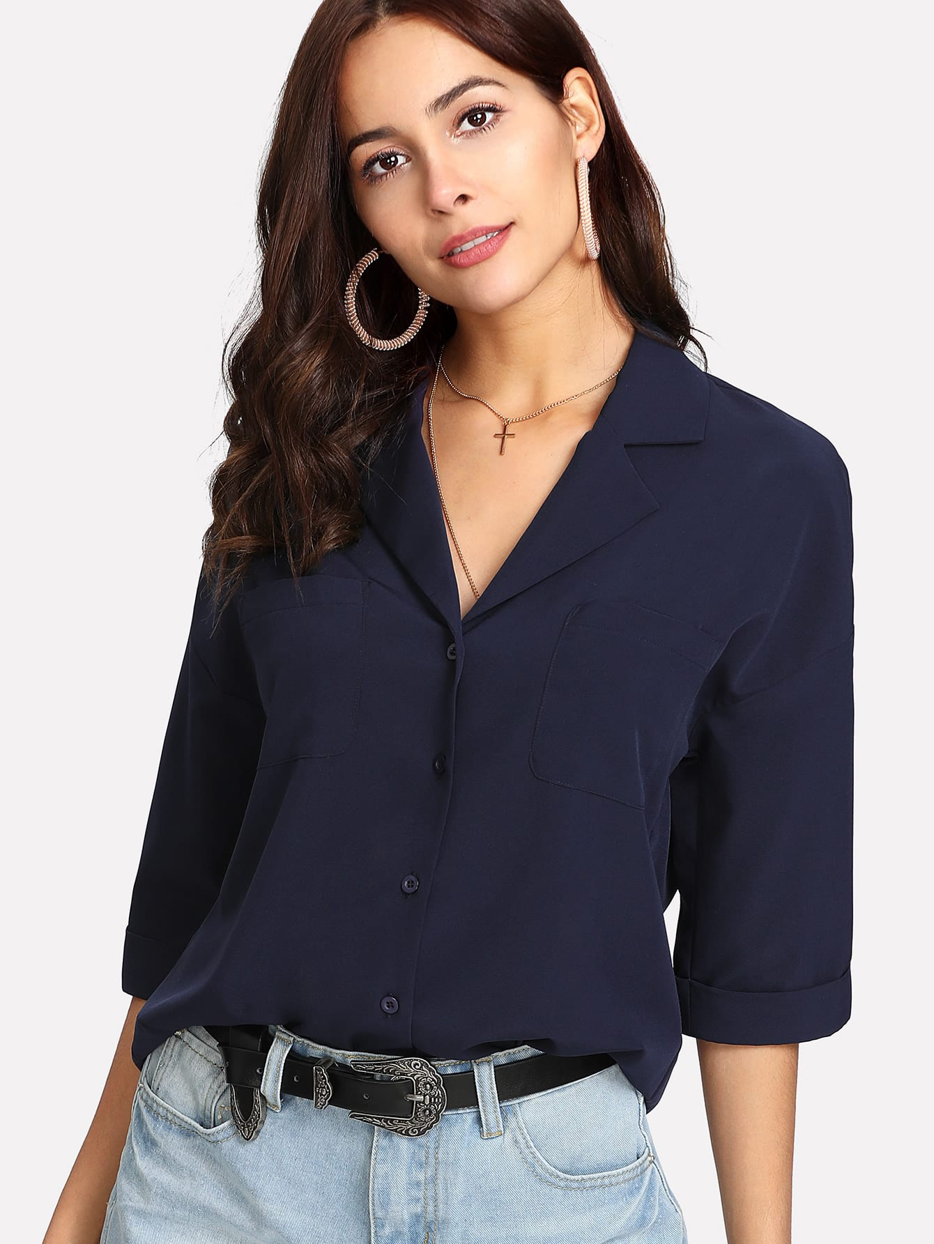 Notch Collar Drop Shoulder Button Up Top