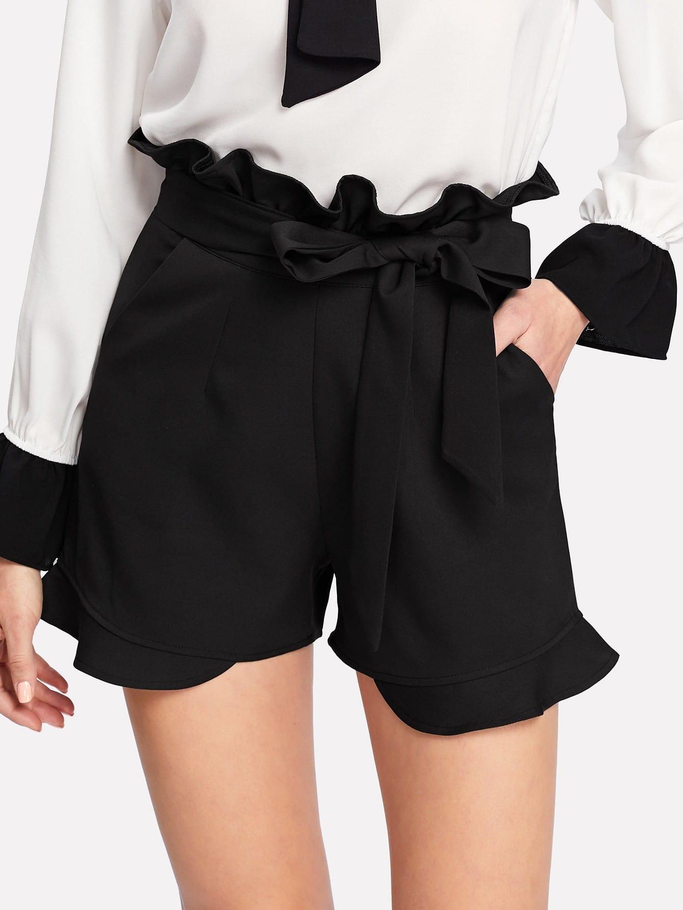 Belted Ruffle Shorts ruffle waist belted peg pants
