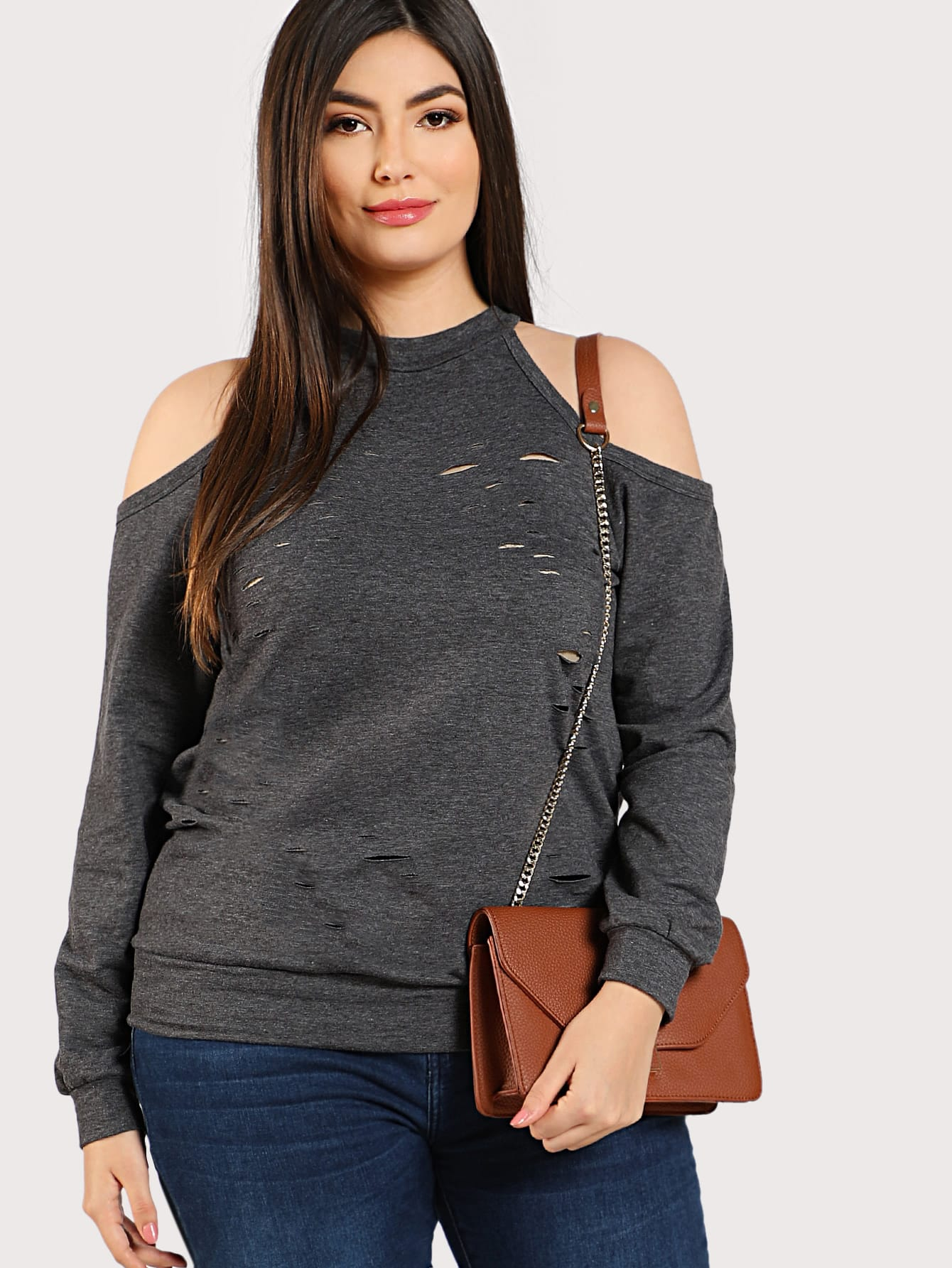 Ripped Cold Shoulder Sweatshirt two tone drop shoulder sweatshirt