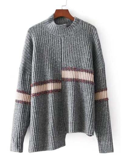 Striped Detail Asymmetrical Knitwear