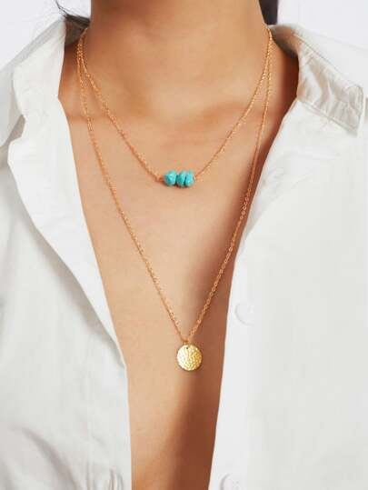 Sequin & Turquoise Pendant Layered Chain Necklace