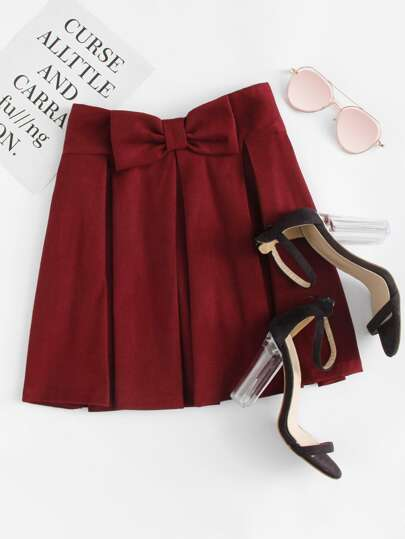 Bow Waist Box Pleated Skirt