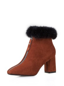 Square Toe Front Zipper Ankle Boots