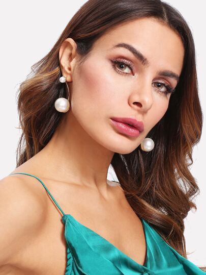 Double Faux Pearl Design Drop Earrings