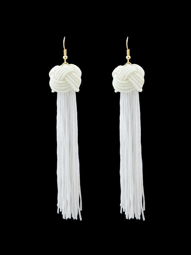 White Long Rope Tassel Drop Earrings Bohemian trust 19867