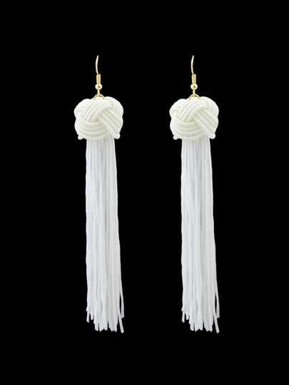 White Long Rope Tassel Drop Earrings Bohemian