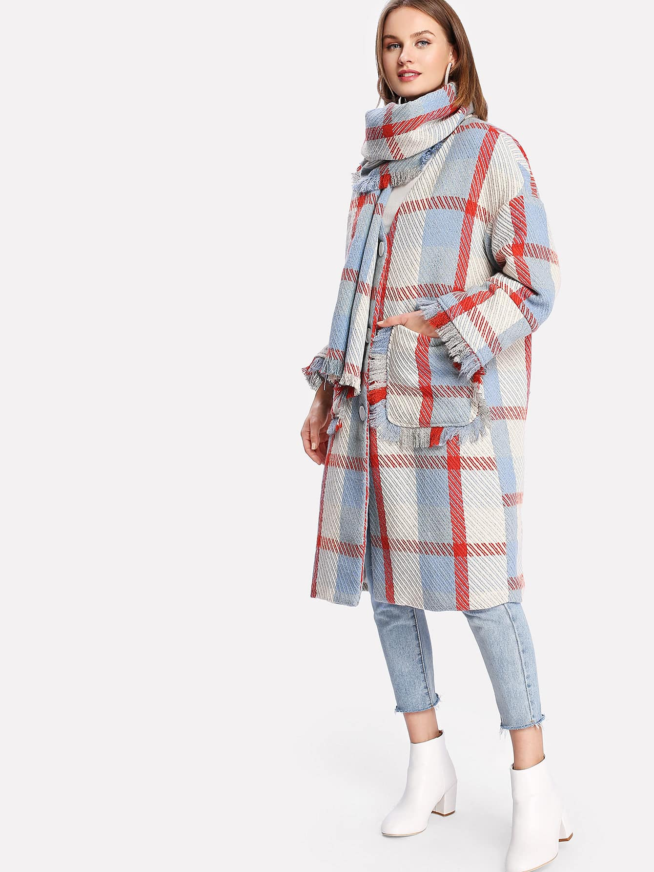 Image of Fringe Trim Plaid Coat With Scarf