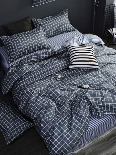 2.0m 4Pcs Checked Print Bedding Set