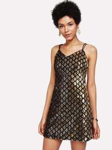 Sequin Criss Cross Back Cami Dress