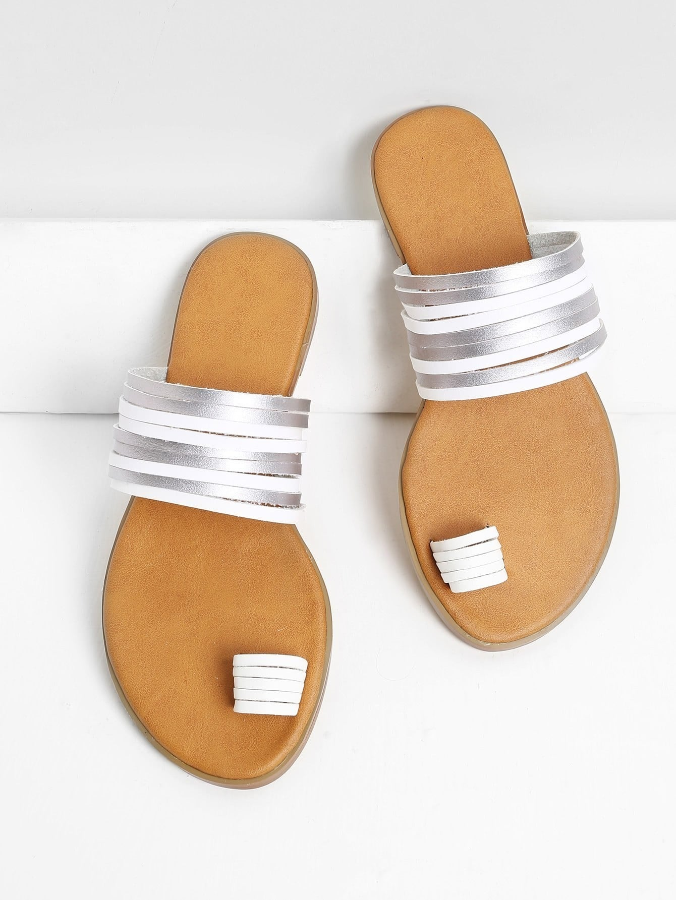 Metallic Strappy Toe Ring Sandals