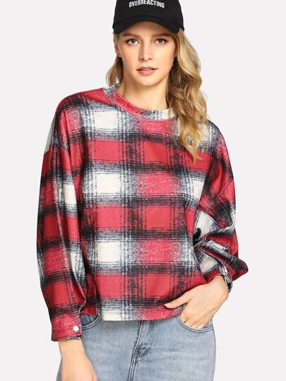 Drop Shoulder Tartan Plaid Blouse