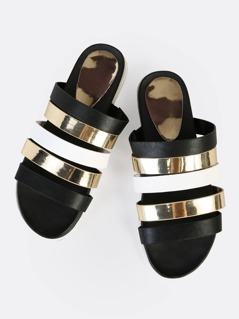 Mixed Media Sandals BLACK