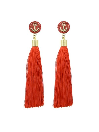 Red Anchor Decoration With Long Tassel Drop Statement Earrings