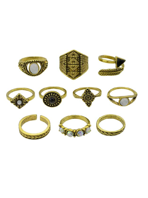 At-Gold 10 Pcs/Set Boho Chic Finger Rings Women Accessories