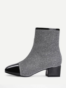 Two Tone Square Toe Ankle Boots