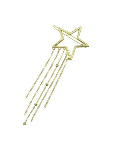 Star Geometric Shape With Multi Layers Tassel And Beads Hairgrips