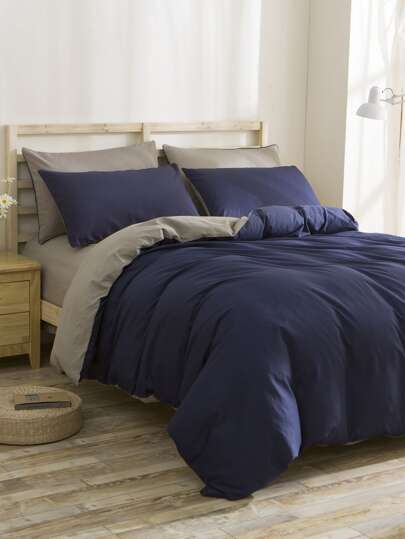2.0m 4Pcs Two Tone Bedding Set