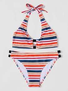Striped Colorblock Bikini Set
