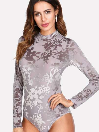 Mock Neck Floral Flocked Bodysuit