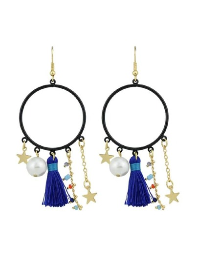 Blue Tassel Simulated-Pearl Colorful Beads Star Charms Drop Earrings