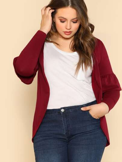 Ruffle Sleeve Curved Jersey Cardigan