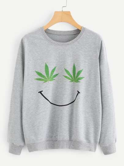 Maple Leaf Print Sweatshirt