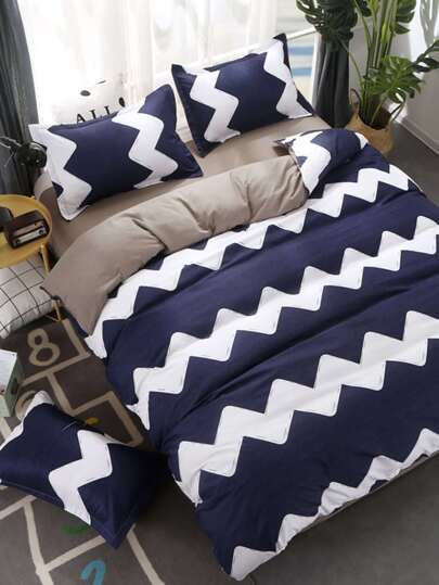 1.8m 4Pcs Chevron Print Duvet Cover Set