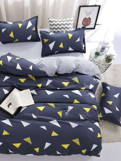 2.0m 4Pcs Geometric Print Bed Sheet Set