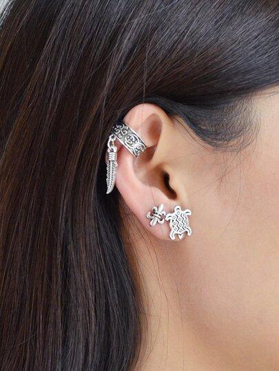 Ethnic Style Retro Tortoise Earrings Set Women Accessories