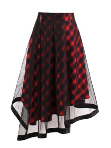 Check Plaid Contrast Mesh Skirt