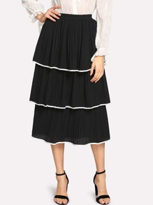 Contrast Trim Tiered Skirt