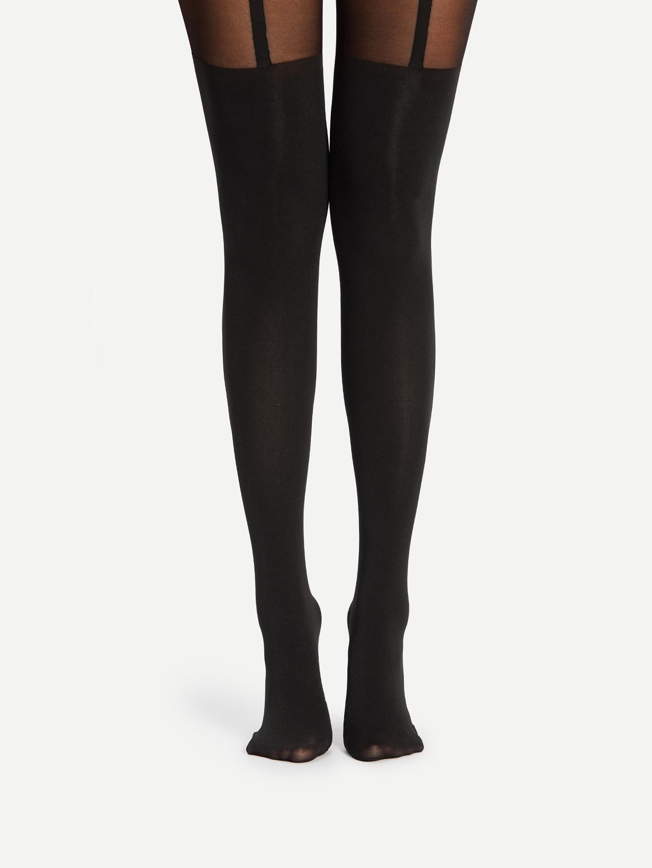 Mesh Panel Tights 20d striped mesh tights