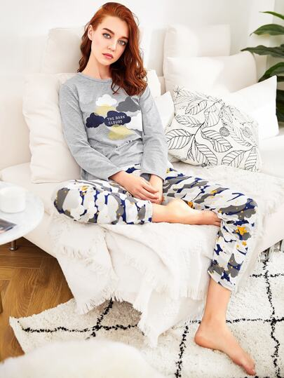 Cloud Print Long Pajama Set