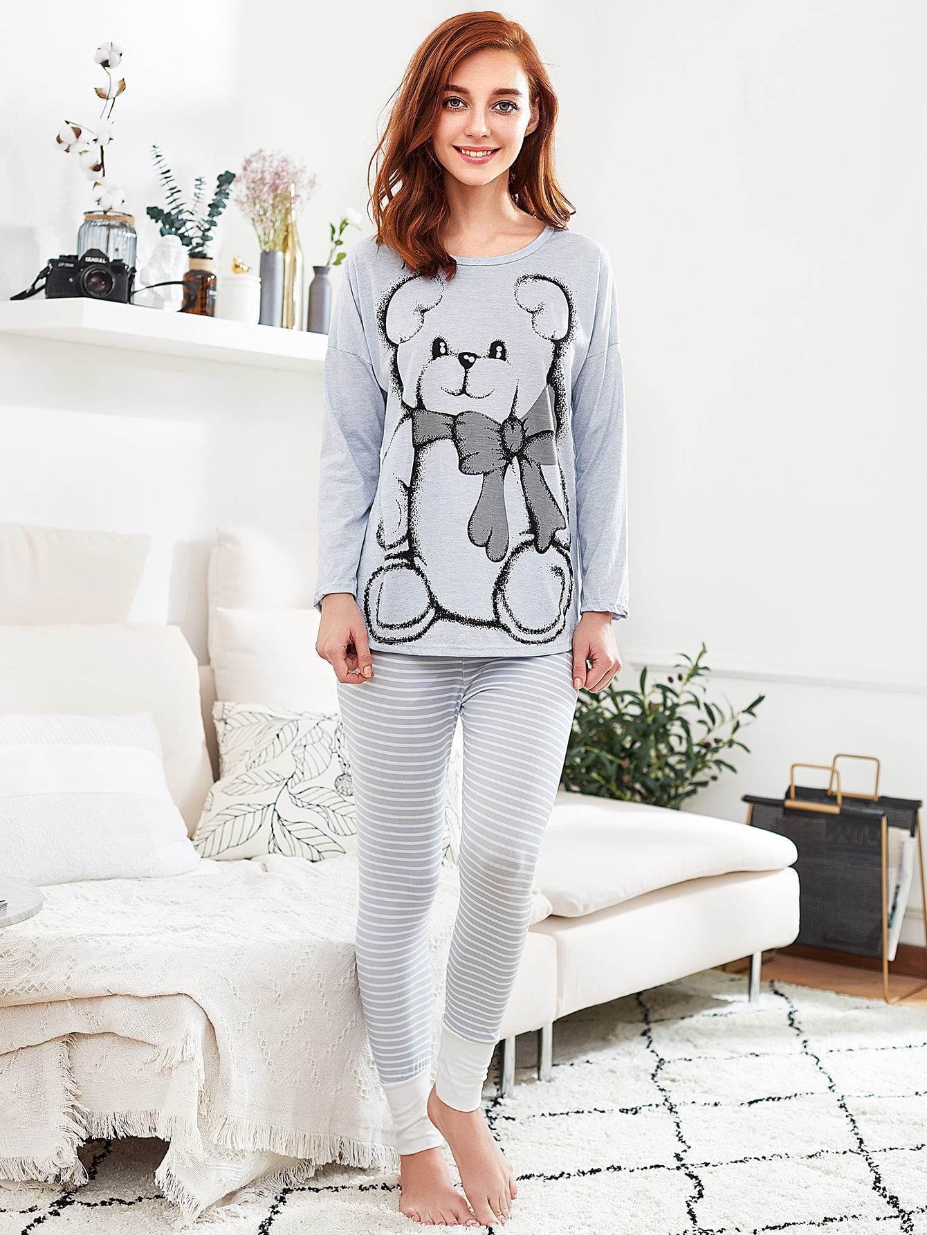Drop Shoulder Dip Hem Tee & Leggings Pj Set night171110319