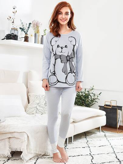 Drop Shoulder Dip Hem Tee & Leggings Pj Set