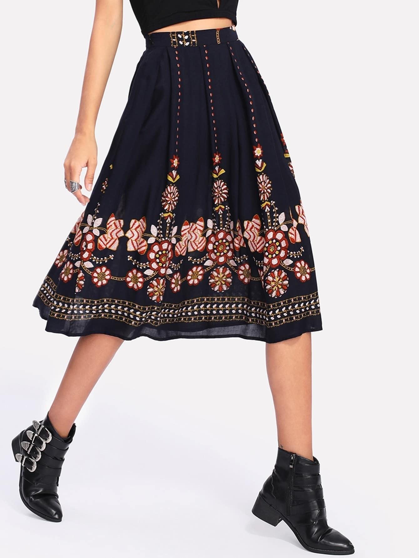 Botanical Print Flare Skirt пижама жен mia cara майка шорты botanical aw15 ubl lst 264 р 42 44 1119503