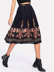 Botanical Print Flare Skirt