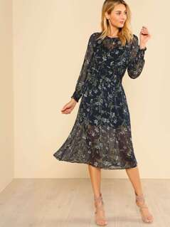 Floral Print Long Sleeve Sheer Dres NAVY