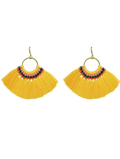 Yellow Boho Fan Shaped Earrings Ethnic Style Tassel Big Earrings